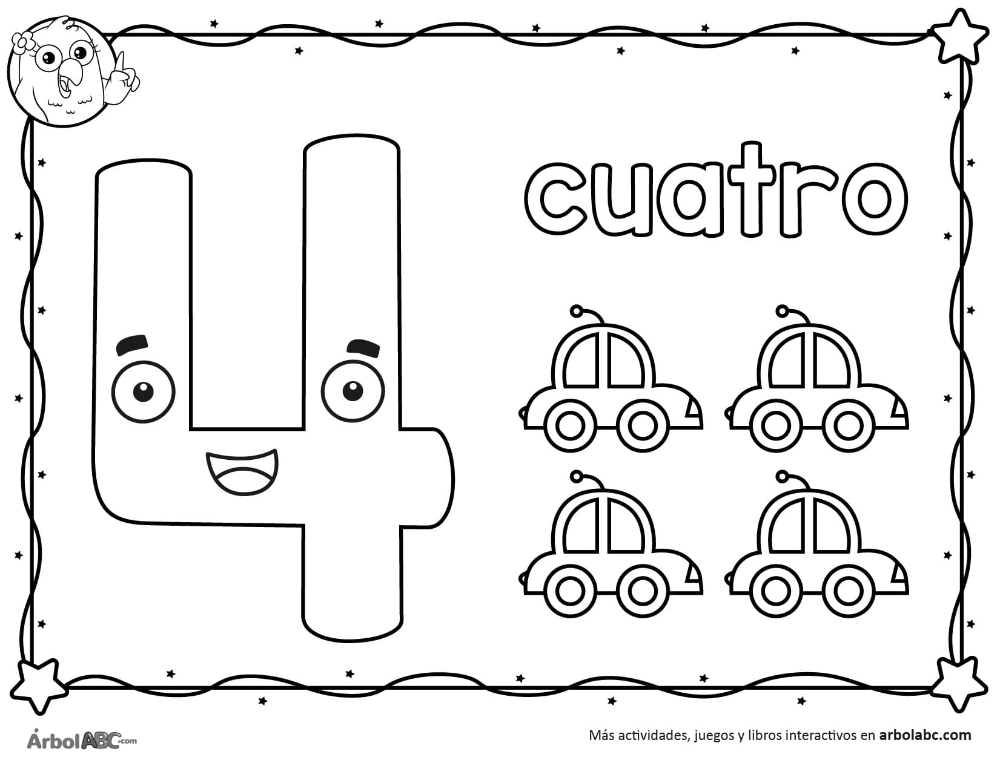 Numero 4 Para Colorear Arbol Abc Numero Para Colorear Actividades Del Alfabeto En Preescolar Imprimibles Para Preescolar