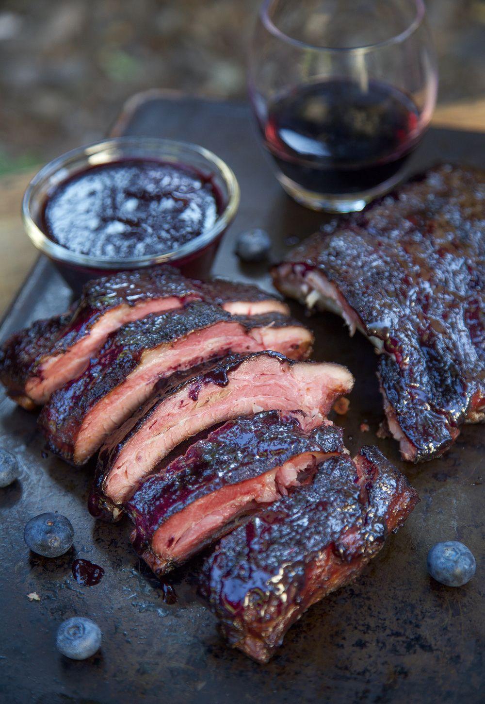 Blueberry Bourbon Baby Back Ribs Vindulge Recipe Smoked Food Recipes Food Rib Recipes