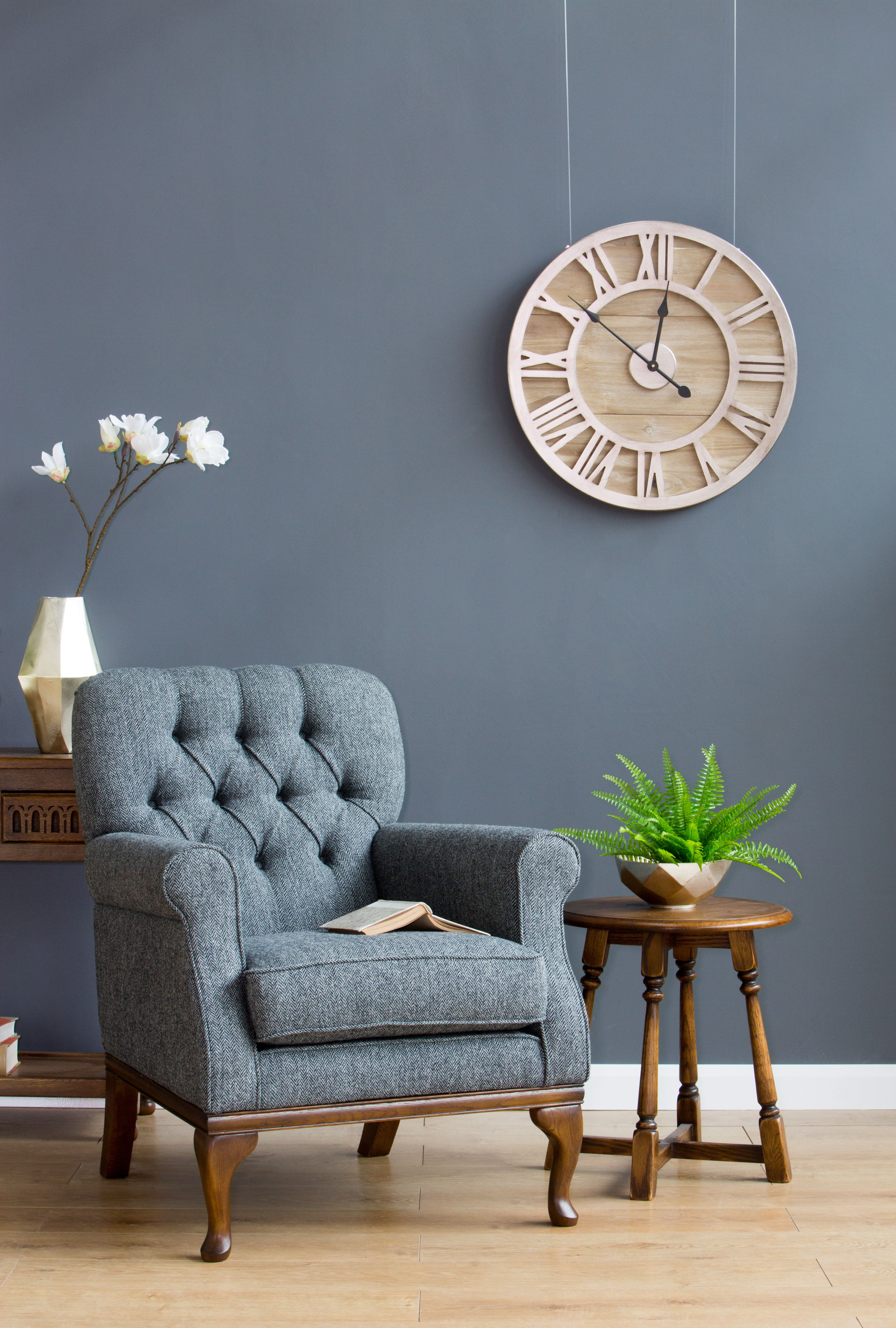Burnham Armchair Wood Bros Tweed Furniture Armchair Wood Sofa
