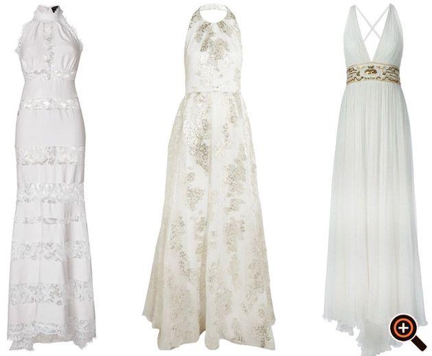 Kleid weiß gold & silber - Cocktailkleider, Abendkleider, Sommerkleider, Maxikleider