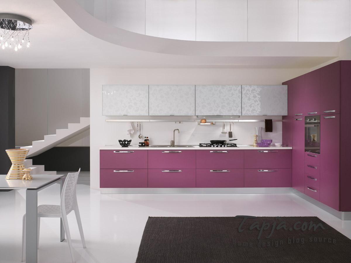 Minimalist kitchen design with-purple kitchen cabinet storage and ...