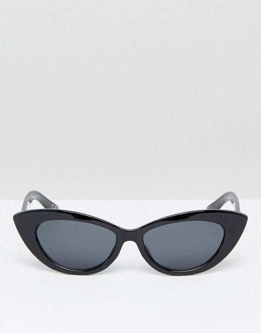 ASOS - Petites lunettes de soleil yeux de chat pointues - Blanc R7m1m0