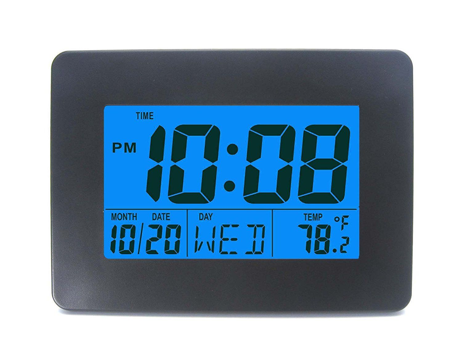 Dykie Rs8725a Digital Wall Alarm Clock With Date Week And Temperature Display Snooze And Large Display Blue Backlight Clock Alarm Clock Digital Alarm Clock