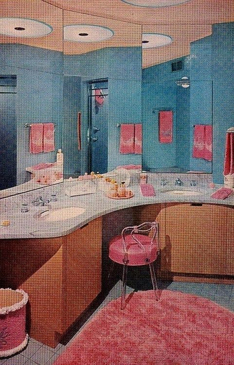 better homes and gardens bathrooms. pink and blue bathroom design from the better homes \u0026 gardens decorating book, 1956. bathrooms