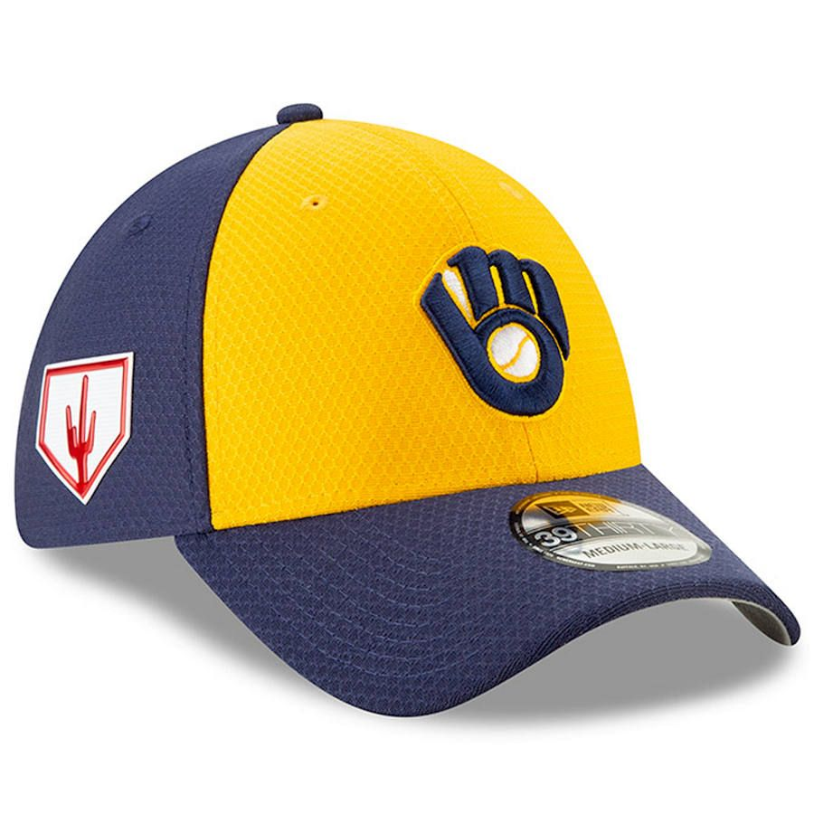 e6488e40 Men's Milwaukee Brewers New Era Yellow 2019 Spring Training 39THIRTY Fitted  Hat, $37.99