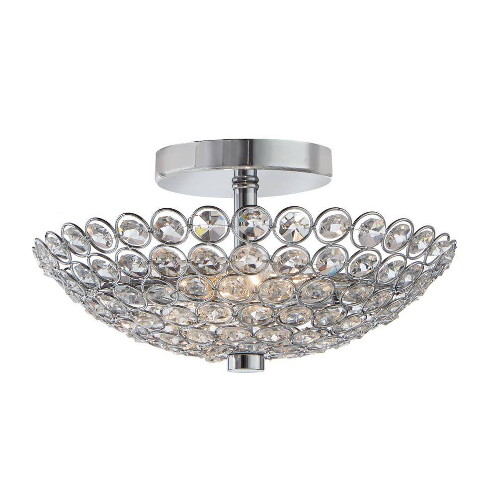 Home Decorators Collection Barclay 2 Light Chrome And Crystal Flush Mount Fm49290 015 The Home Depot Light Fixtures Flush Mount Crystal Light Fixture Industrial Flush Mount Lighting