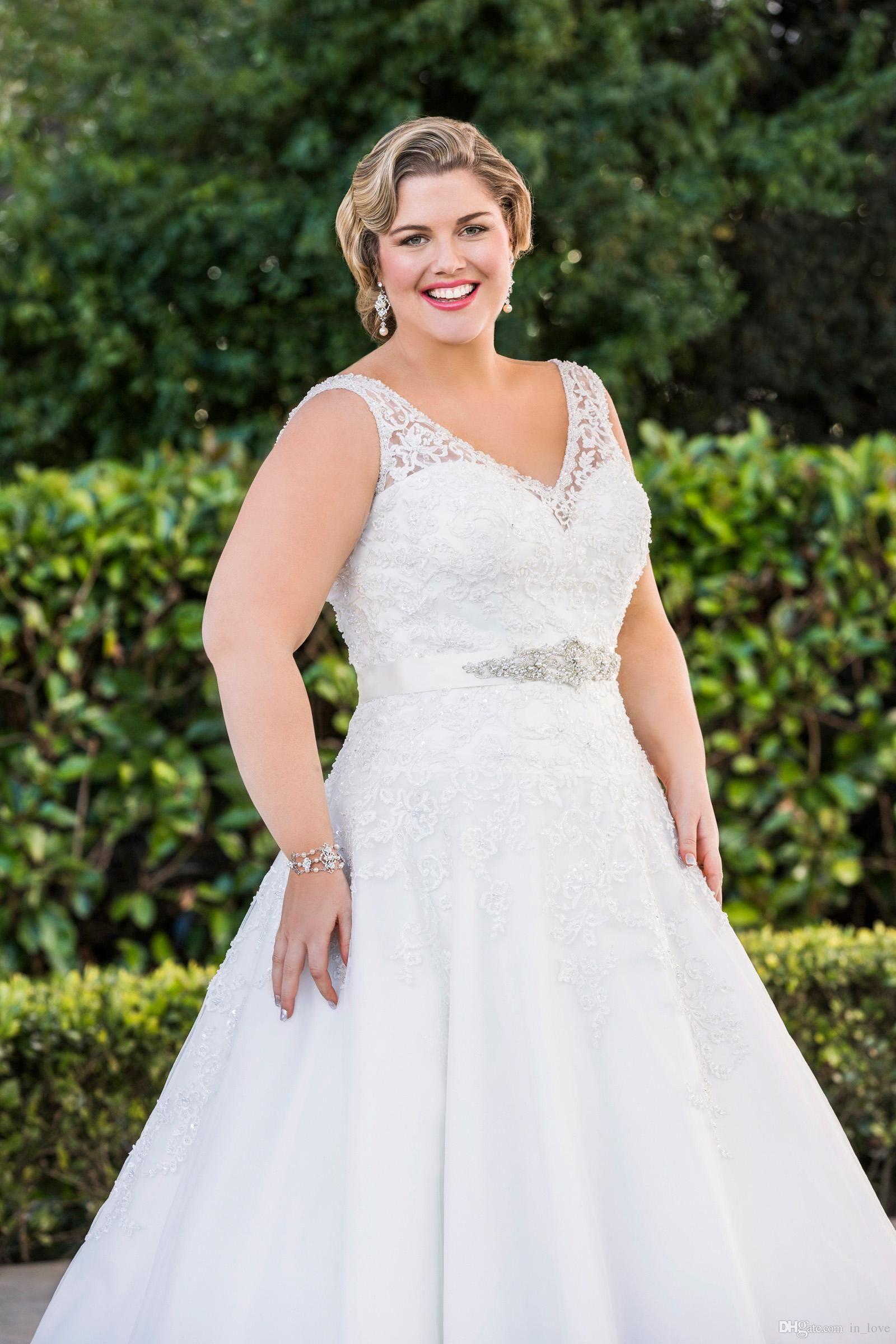 Sheer 2014 Plus Size A Line Lace Wedding Dresses V Neck