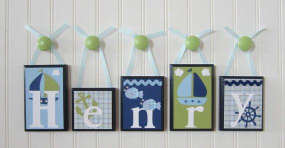 Name Blocks Nursery Baby Hanging Wood