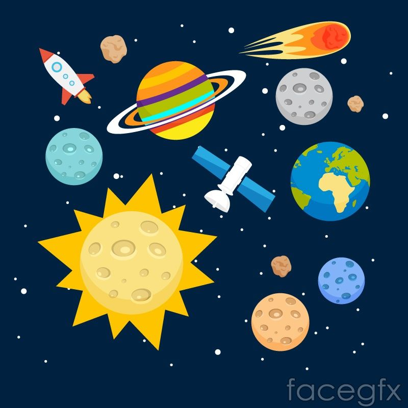 Cartoon Universe Vector Illustration Space Theme Solar System Space Birthday Party