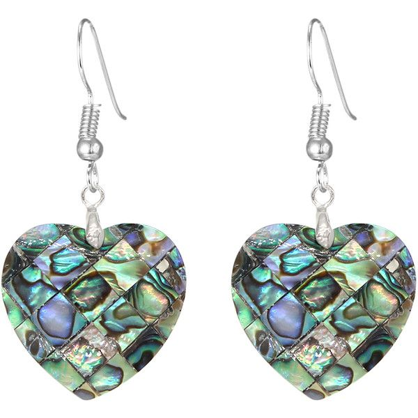 Bleek2sheek Blue Mother Of Pearl Sterling Silver Heart Drop Earrings 18 Liked On Polyvore Featuring Jewelry Shaped