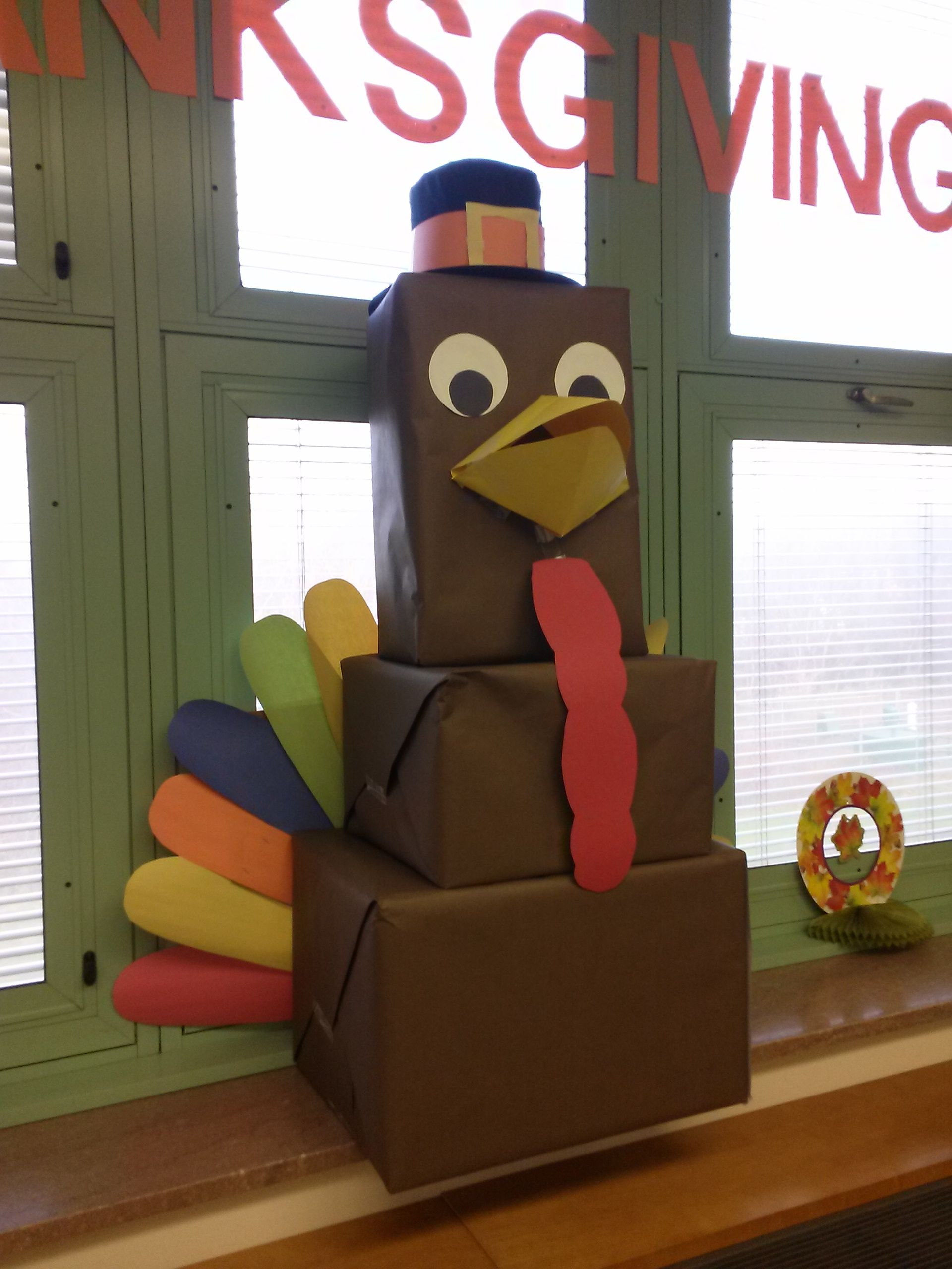 A Thanksgiving Turkey Made From Leftover Cardboard Boxes And