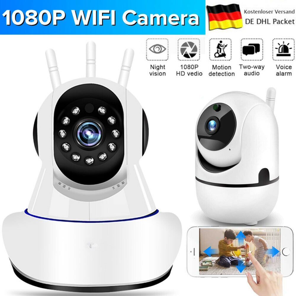 Funk IP Kamera 1080P Wlan Überwachungskamera Webcam Nachtsicht Babyphone Camera