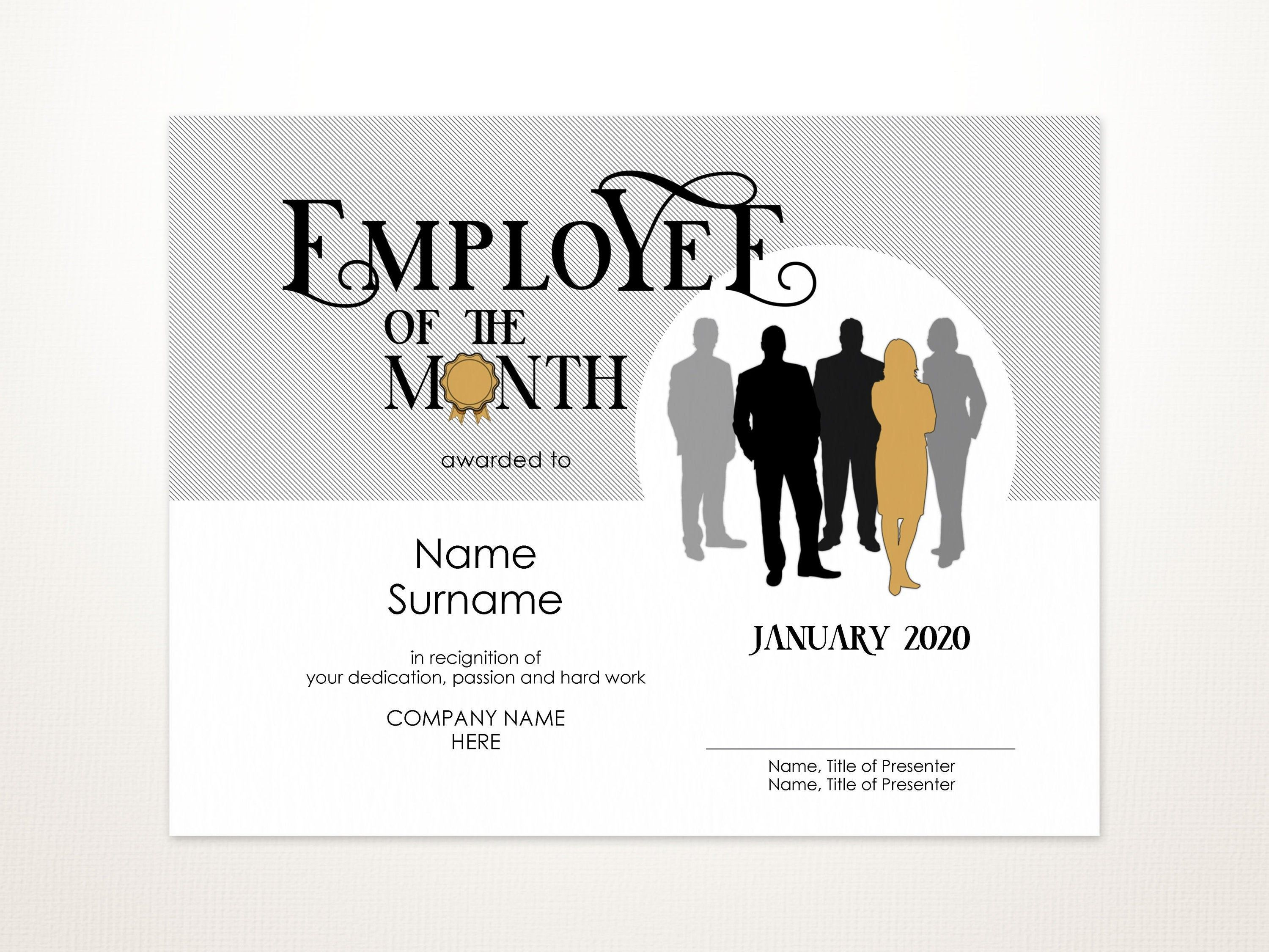 Woman Employee Of The Month Editable Template Printable Etsy Award Template Template Printable Certificate Templates Printable employee of the month certificate