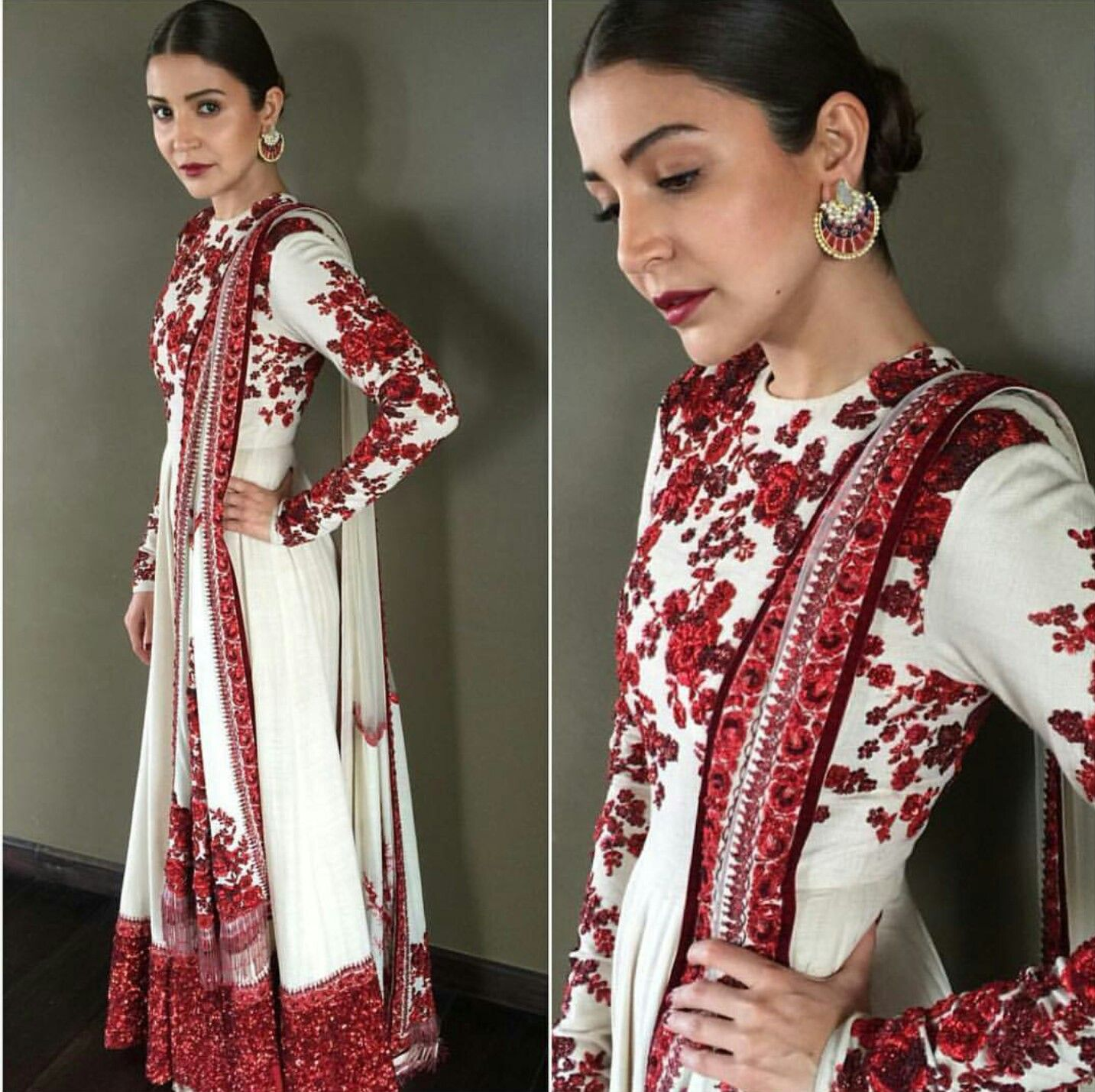 601d526a114 Anushka Sharma wearing red and white Sabyasachi traditional outfit for  Sultan Promotions