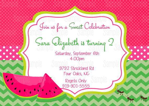 Pink Watermelon Invitation Printable Birthday Party