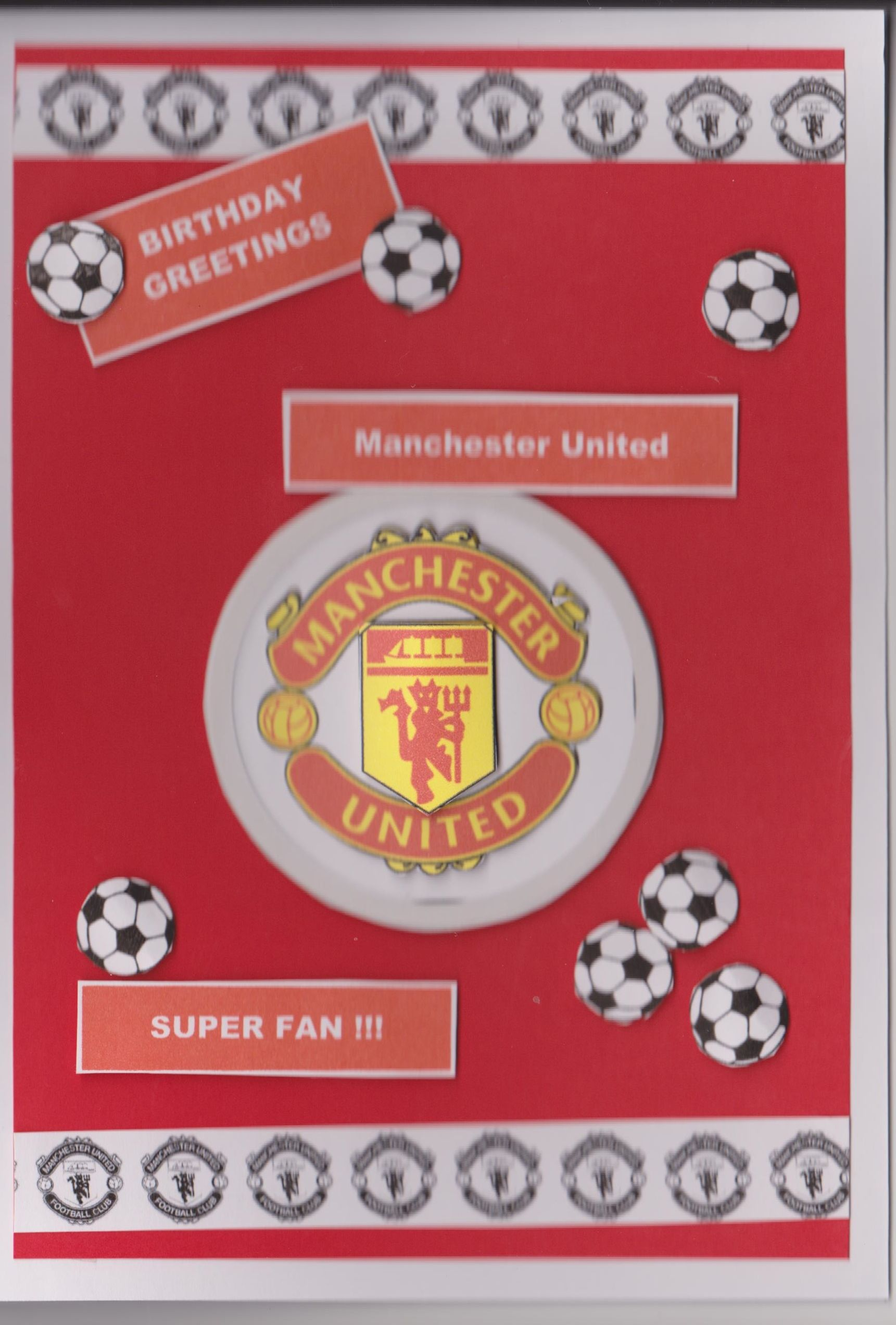 Manchester United Fan De Coupage Card Male Cards Cards Birthday Greetings