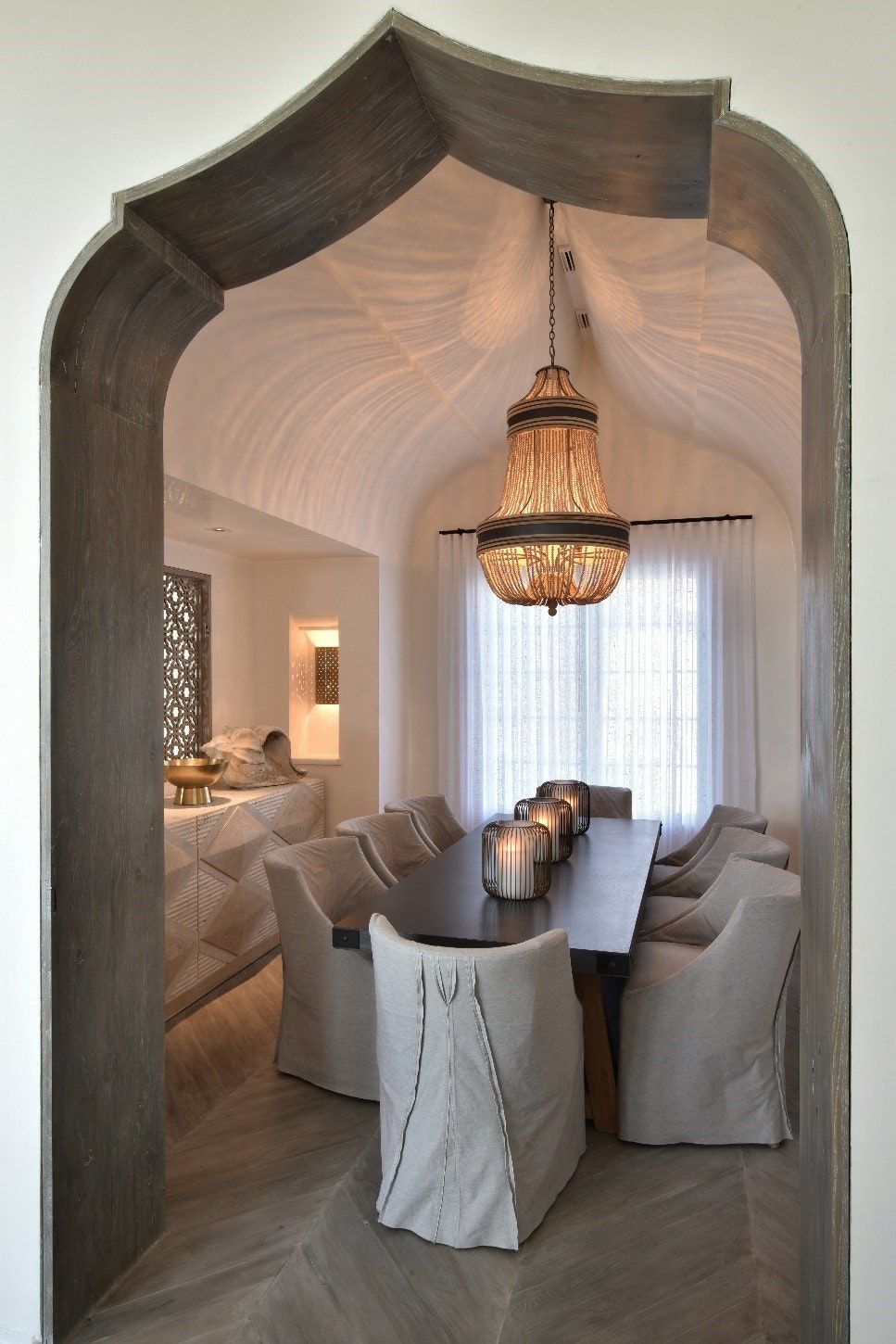 vaulted wood and plaster arch at dining room in private residence with images moroccan on kitchen interior top view id=11371
