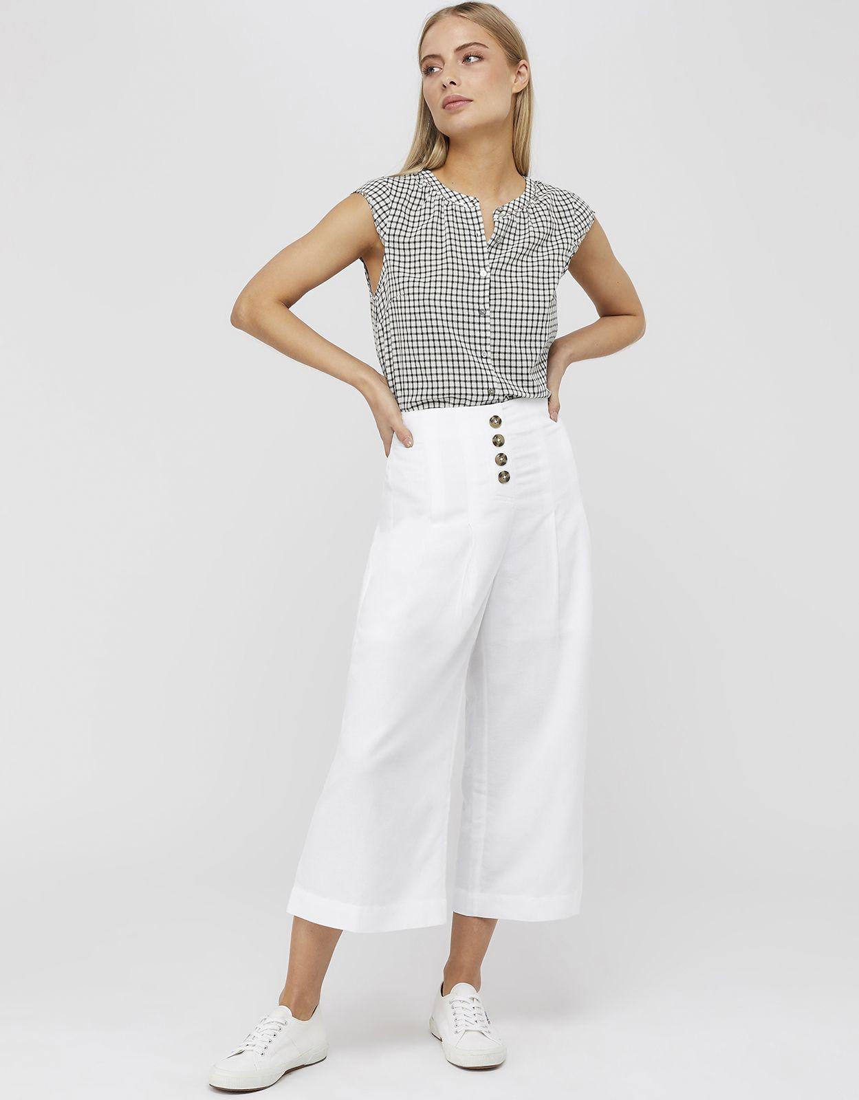 -50% sur Monsoon Pantacourt jupe-culotte à boutons Becky 48 vendu par Monsoon – 58121569
