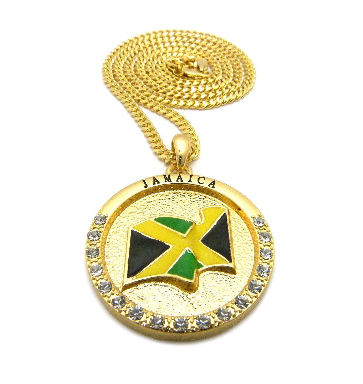 Jamaica flag pendant 24 chains hip hop necklaces accessory jamaica flag pendant 24 chains hip hop necklaces mozeypictures Gallery