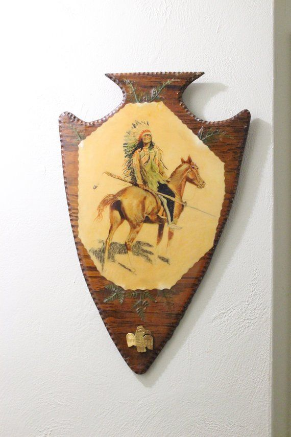 Vintage Native American Indian Chief Painting Wood Arrowhead Plaque ...