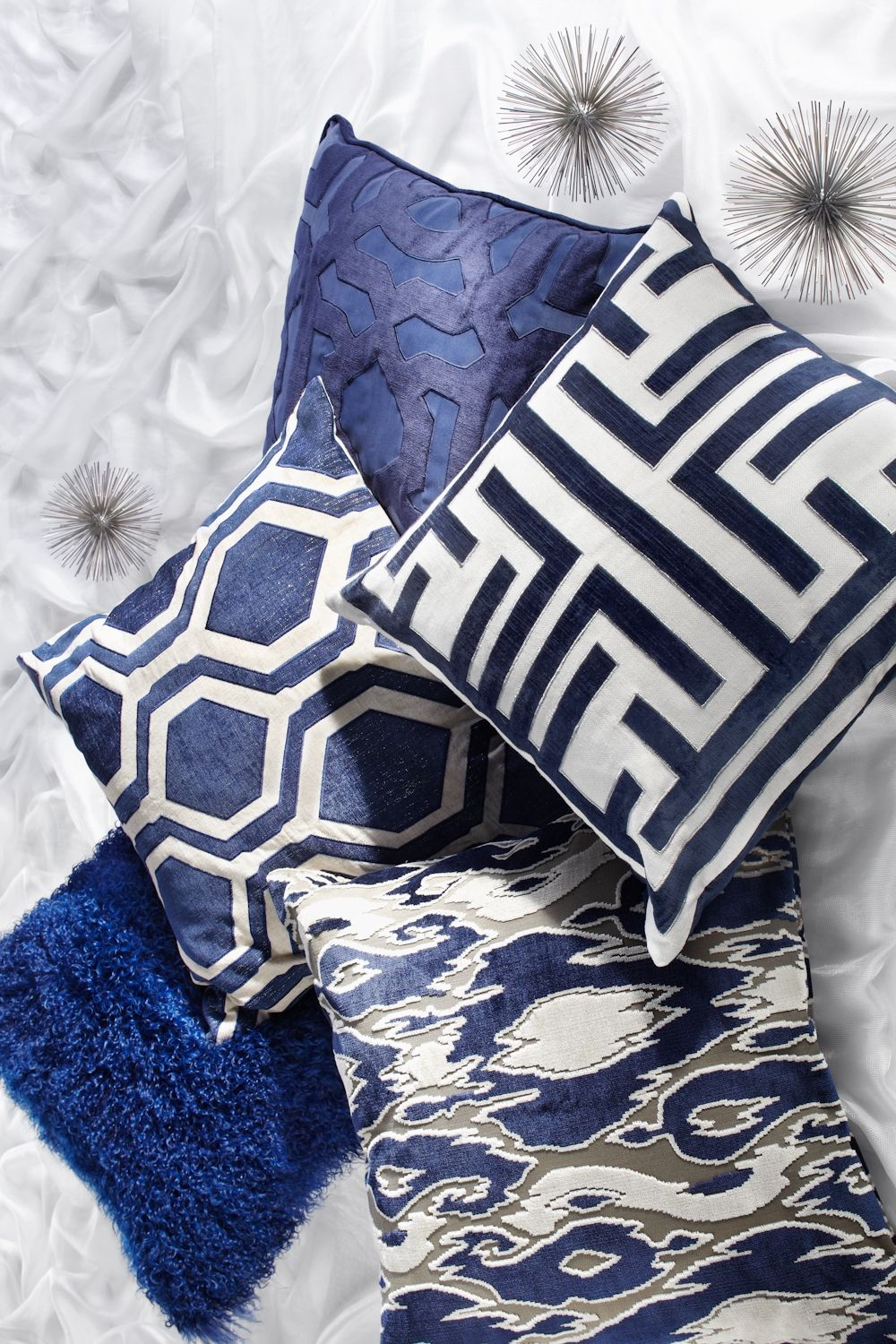 Blue And White Pillows Part - 22: True Blue, Blue Pillows, Blue Patterned Pillows, Blue Geometric Pillows,  Blue And White Pillows