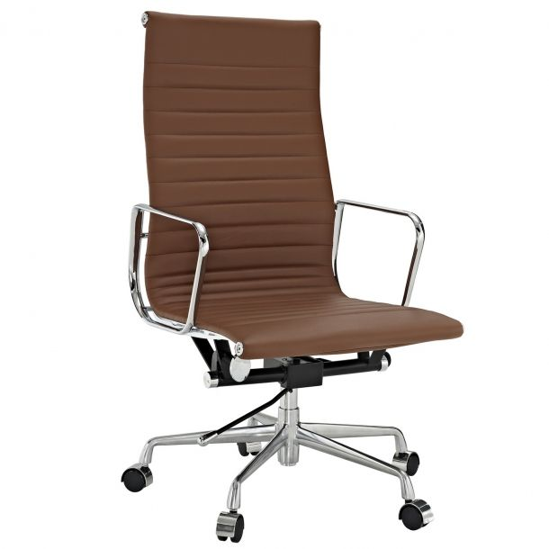 Eames Executive Chair Reproduction Style High Back Camel Tan Terracotta Leather