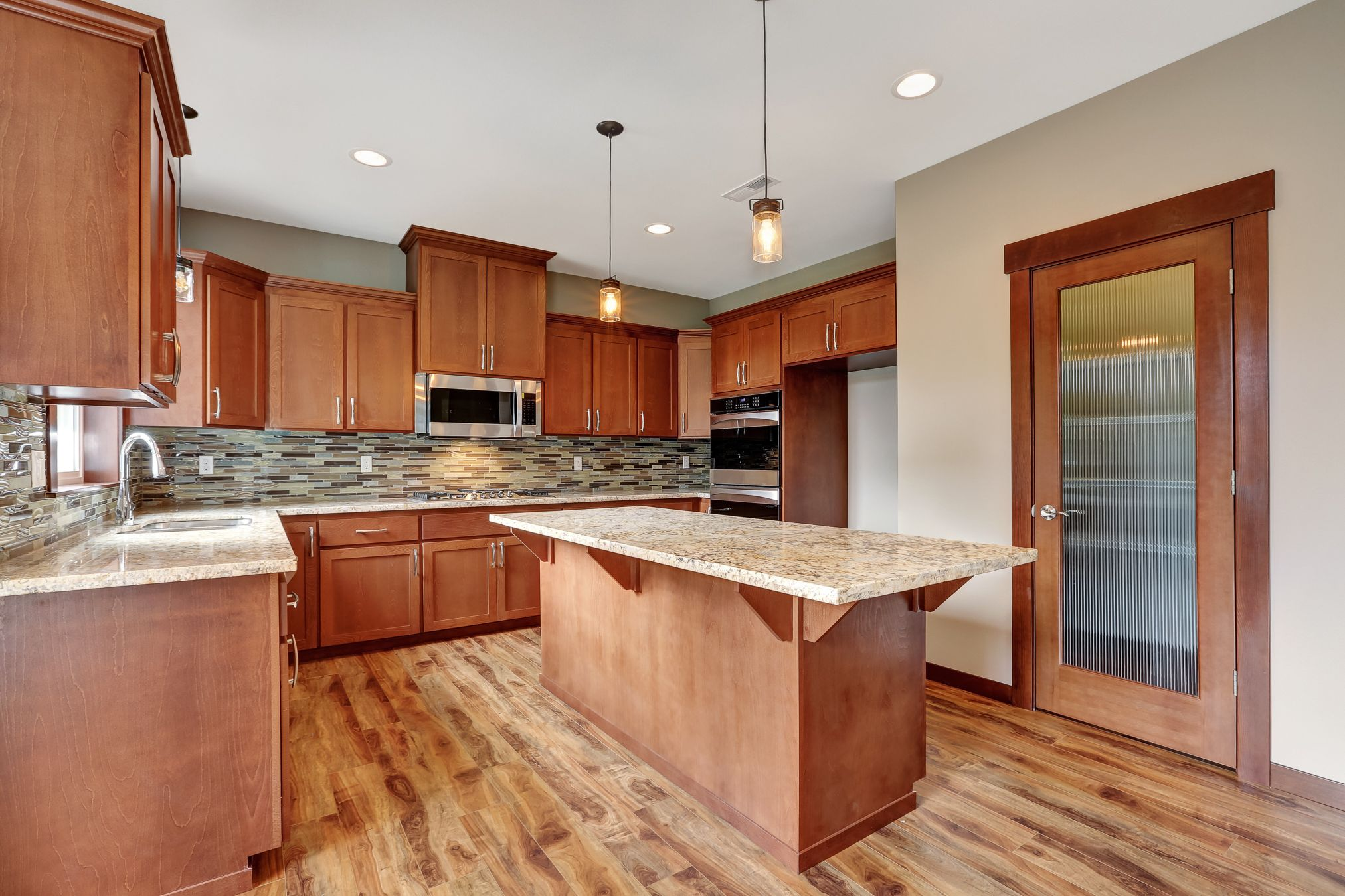 Beautiful Craftsman Kitchen With A 3x6 Island And Large Walk In Pantry Pendant Lighting On Island And Over T Kitchen Layout Craftsman Kitchen Kitchen Remodel 3 x 6 kitchen island