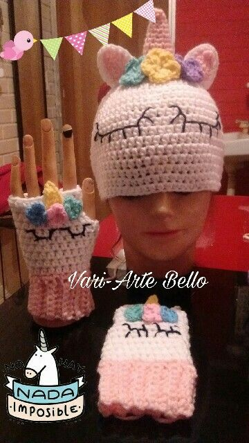 recoger para toda la familia estilo novedoso Gorro y guantes de unicornio | Crochet | Guantes tejidos ...