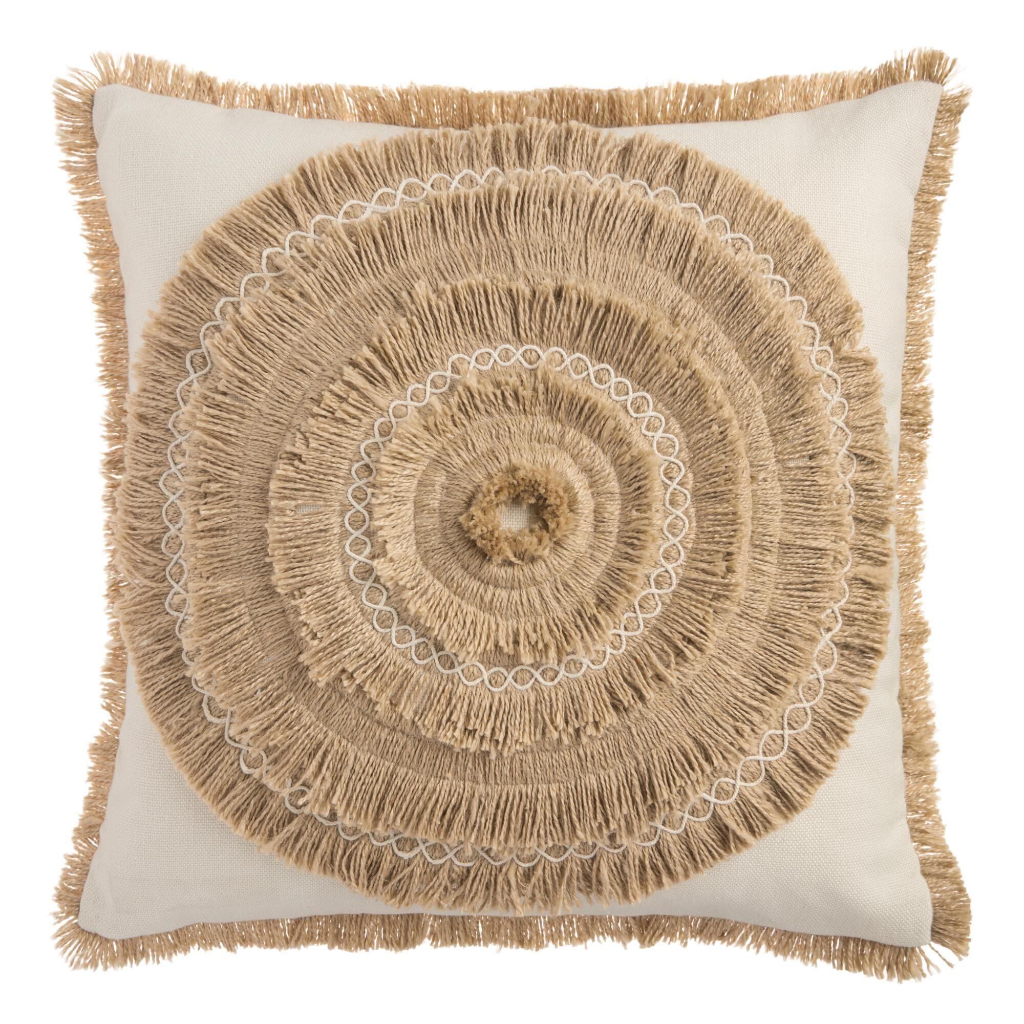 Tan Faux Raffia Indoor Outdoor Throw Pillow Outdoor Throw Pillows Throw Pillows Cost Plus World Market