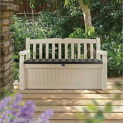 Outdoor Garden Bench Storage Patio Container Seat Box Hand