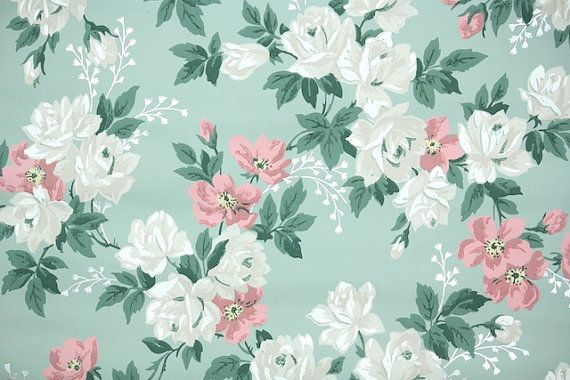 1940s Vintage Wallpaper By The Yard Floral Wallpaper With Etsy In 2020 Vintage Floral Wallpapers Floral Wallpaper Vintage Wallpaper Patterns