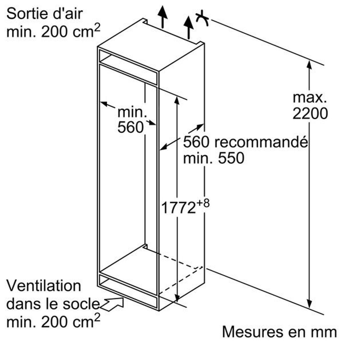 Dimension Frigo Encastrable Ikea refrigerateurs integres combines ki 5862 s 30 - taille
