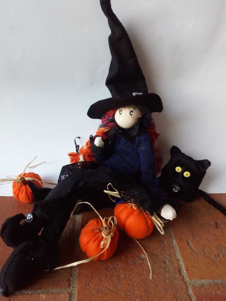 Zucca Halloween Gatto.Halloween Strega Gatto E Zucche Zucca Halloween Zucche E