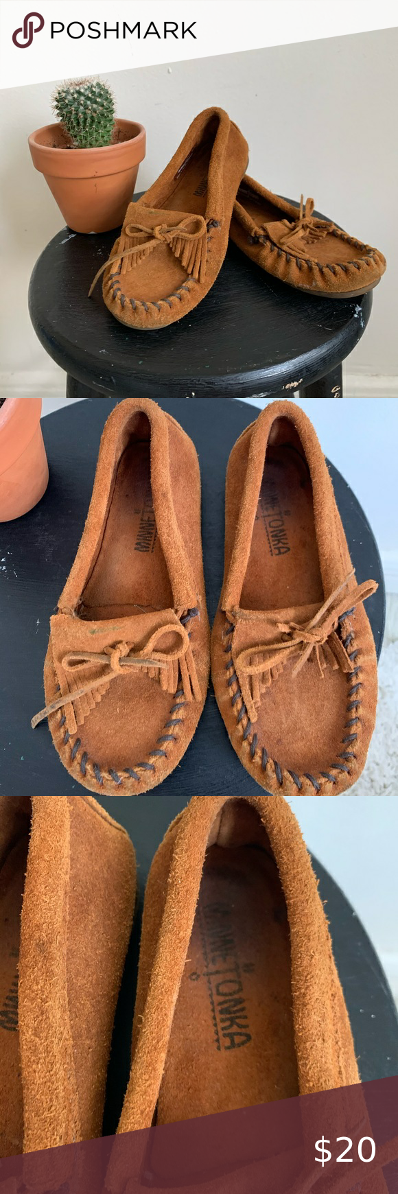 Minnetonka Kids Brown Suede Leather Moccasins Leather Moccasins Suede Leather Brown Suede
