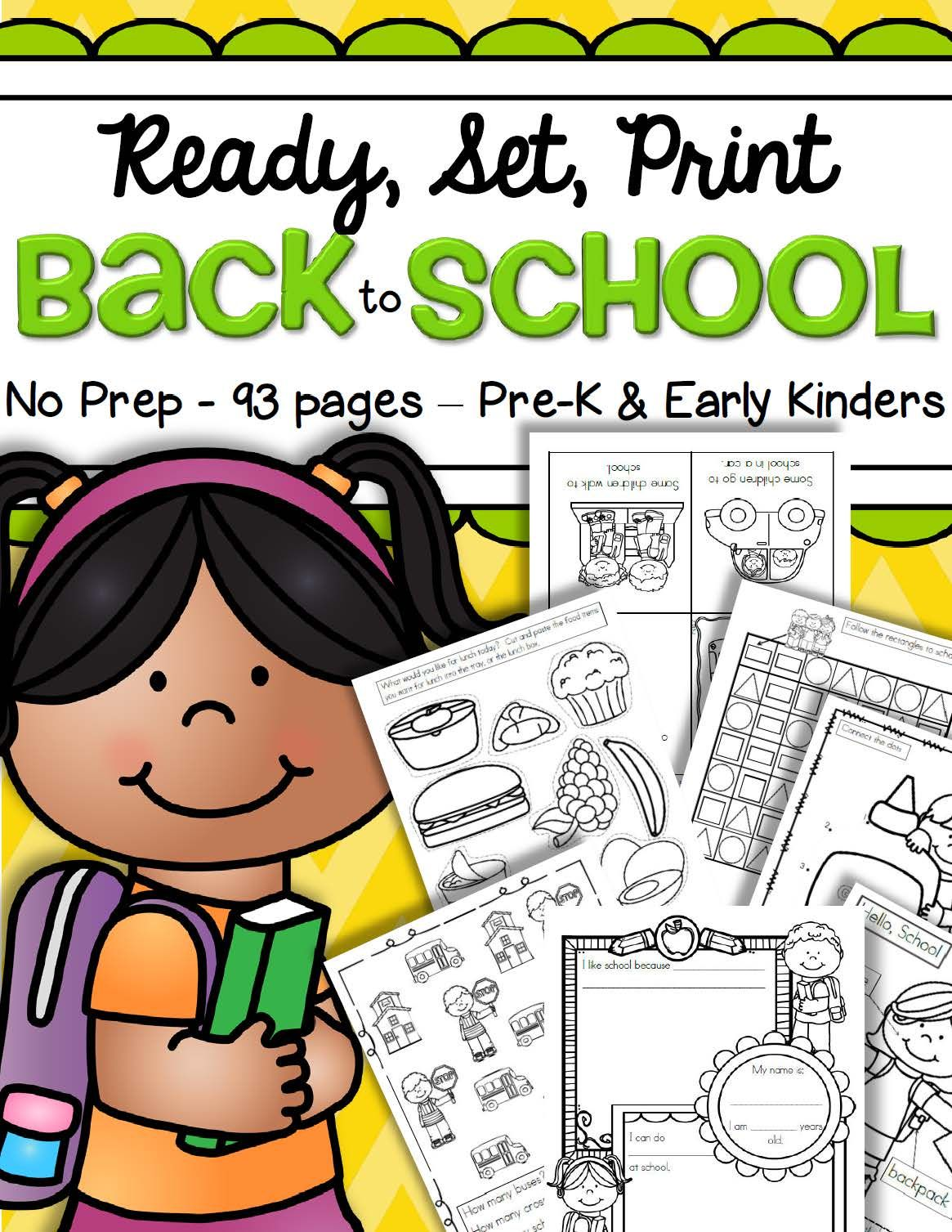 Back To School Printables No Prep Preschool Pre K Early
