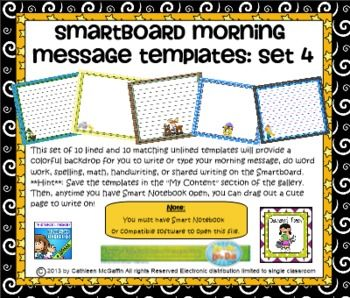 Smartboard Morning Message Templates Set 4 Smart Board Morning