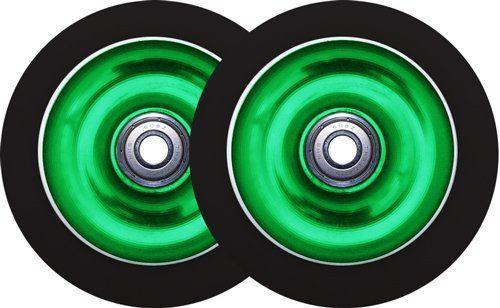 Metal Core Scooter Wheels 110mm GREEN/BLACK Heavy Duty x2
