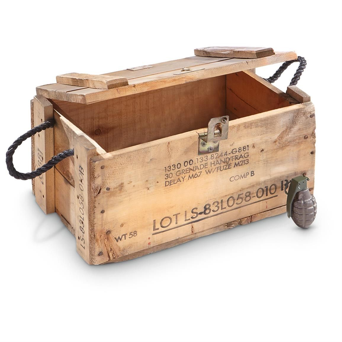 Used u s military surplus wooden grenade box project for Uses for wooden boxes