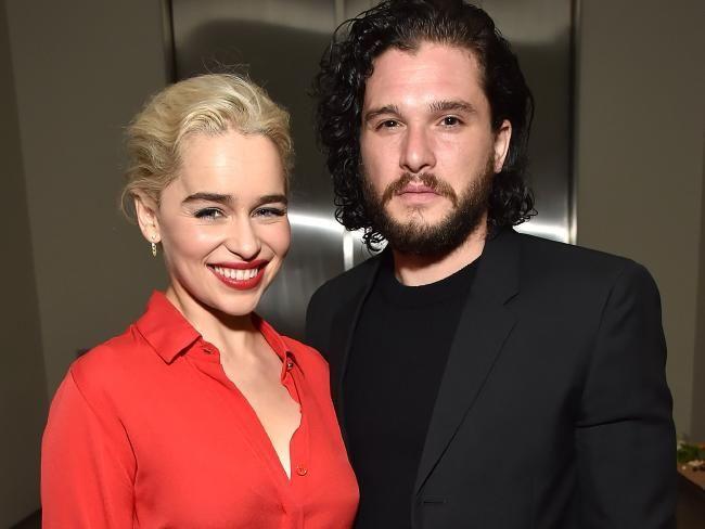 Emilia Clarke and Kit Harington at the Sean Penn & Friends ...