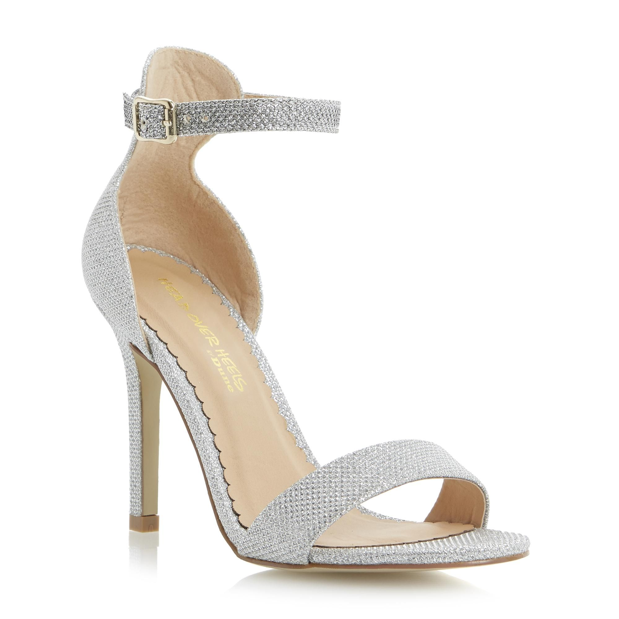 f6c1ea1e58b Head Over Heels Ladies HAWLEY - Two Part Heeled Ankle Strap Dressy Sandal -  silver