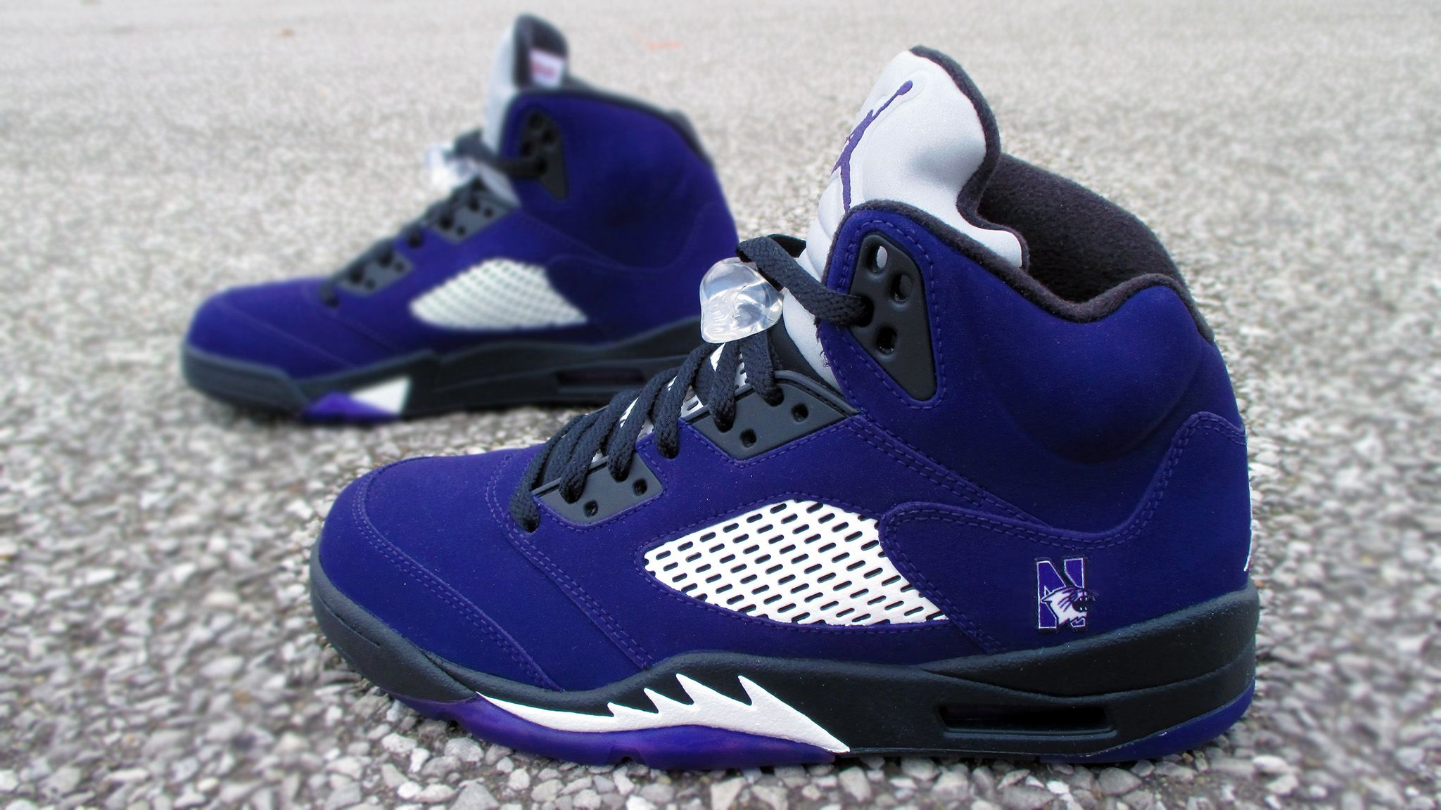 41d405dad34e5f Nike Air Jordan 5 s Custom Black and Purple (Grapes) Northwestern  University Customs