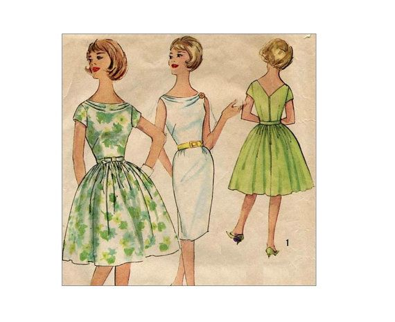 1960s Cowl Neck Dress Pattern Sheath or Full Skirt Party Dress ...