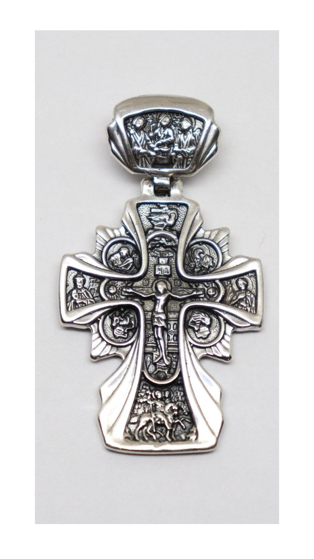 Solid 925 Sterling Silver Antiqued-Style Large Caravaca INRI Crucifix Cross Pendant