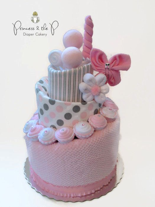 Pink grey sweet treats diaper cake topsy turvy diaper for Baby diaper cake decoration