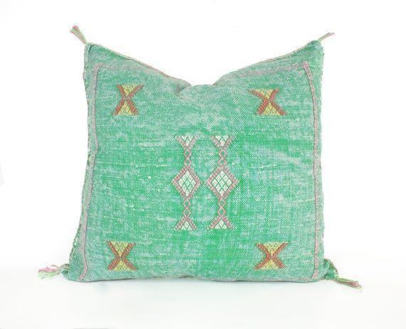 pillow decorative pillow faded green cactus silk pillow bohemian Pillow moroccan cushion throw pillow boho decor  Moroccan pillow decorative pillow faded green cactus sil...