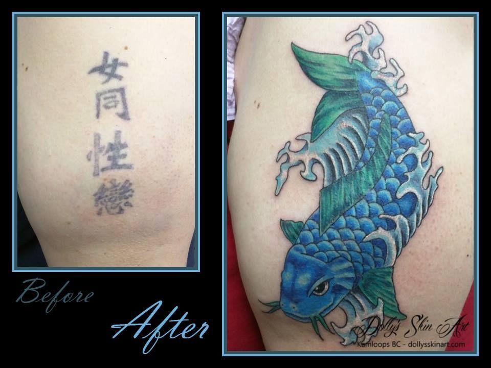 Colour Blue Green Waves Coverup Asian Koi Fish Tattoo Kamloops