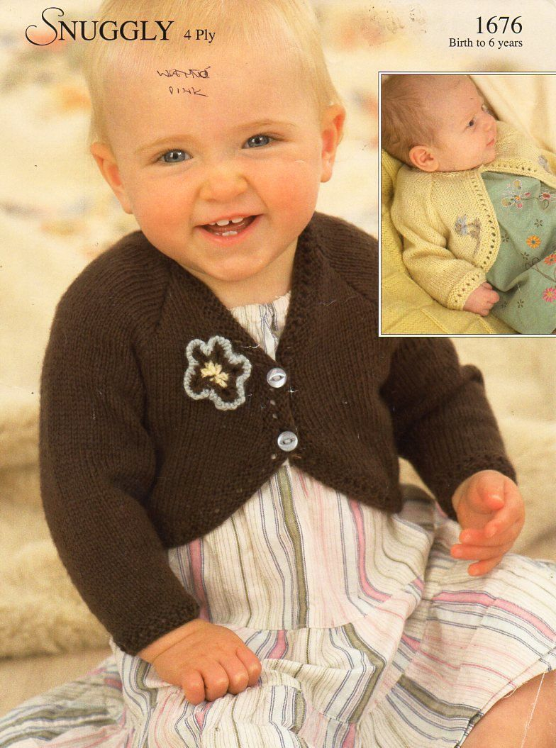 9fc1d69930ff baby childs childrens 4ply bolero knitting pattern PDF babg girls ...