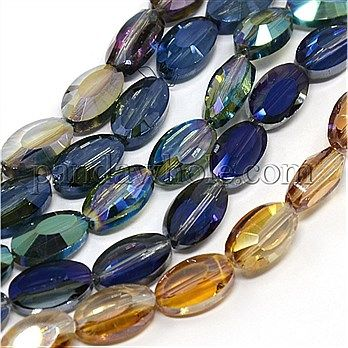 Faceted Electroplate Transparent Glass Oval Beads, 14x8x6mm, Hole: 1mm