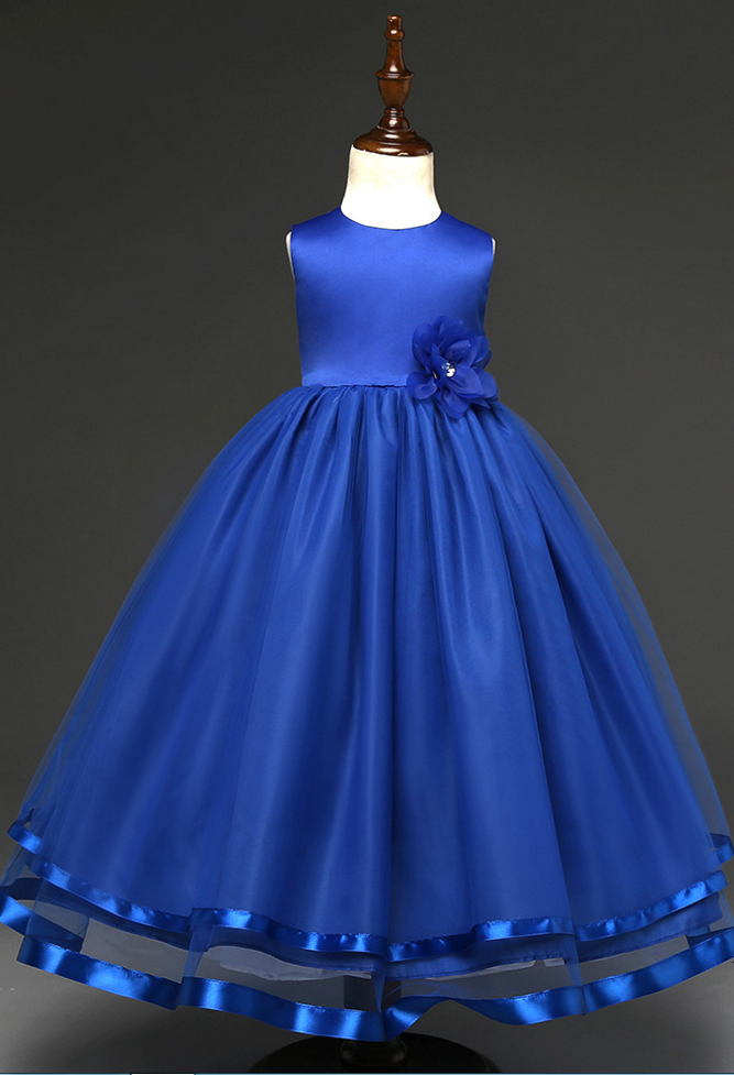 e17af45812 Custom Made Royal Blue Satin Ball Gown Evening Dress With Floral ...