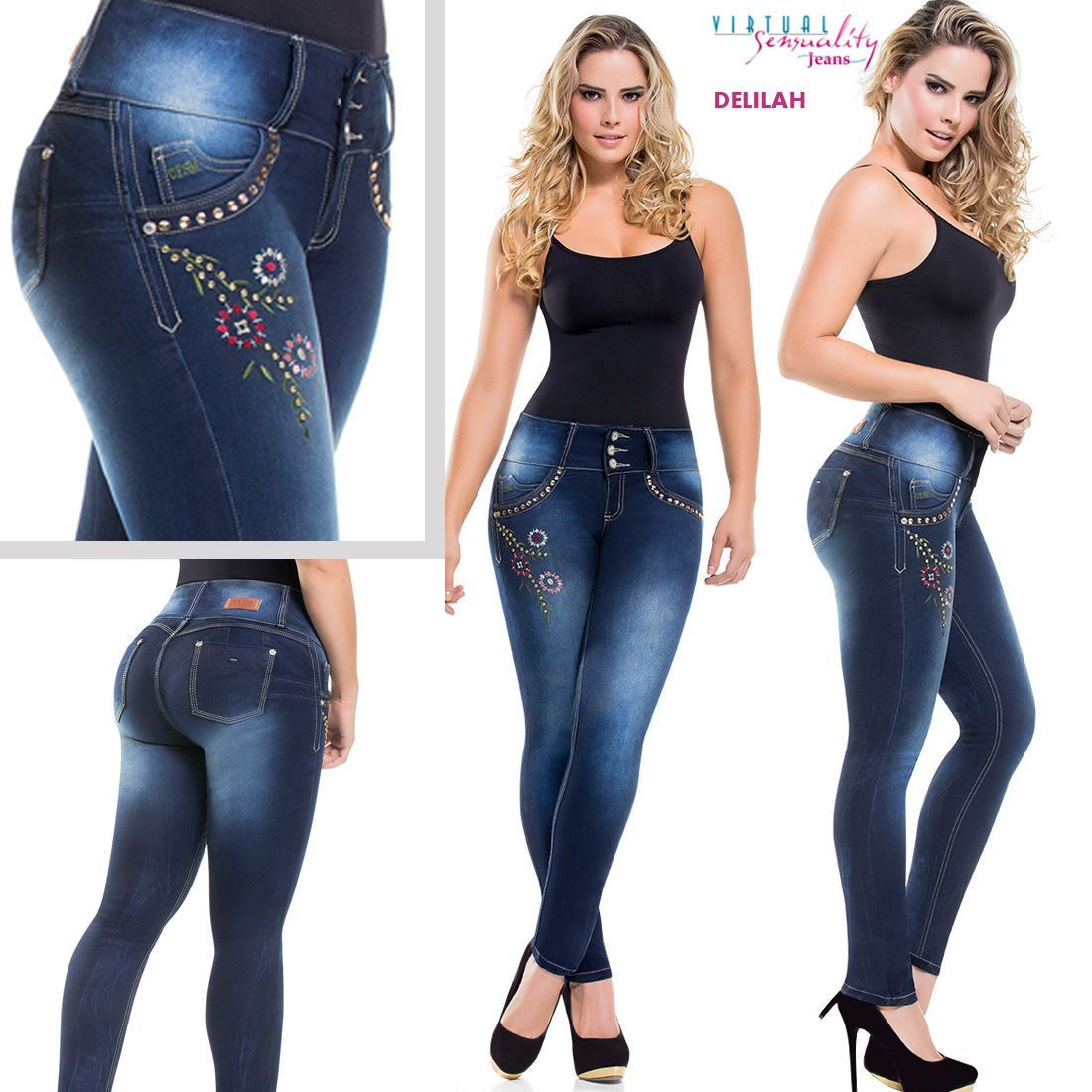 0538f182a55 Butt Lifter Colombian Jeans Levanta Cola Fajate Virtual Sensuality Push Up  Jeans